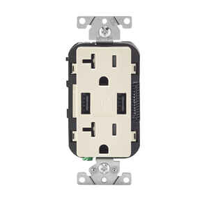 Leviton  Decora  20 amps 125 volt Light Almond  Outlet and USB Charger  5-20R  1 pk