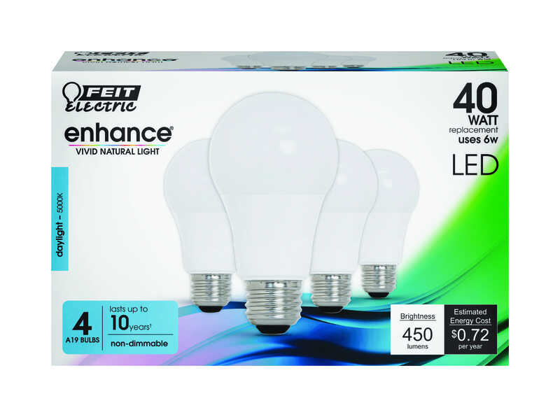 FEIT Electric  Enhance  A19  E26 (Medium)  LED Bulb  Daylight  40 Watt Equivalence 4 pk