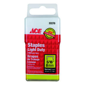 Ace  5/16 in. L Narrow Crown  Light Duty Staples  Galvanized Steel  1000