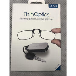 ThinOptics  Always With You  Black  Reading Glasses w/Keychain Case  +1.50