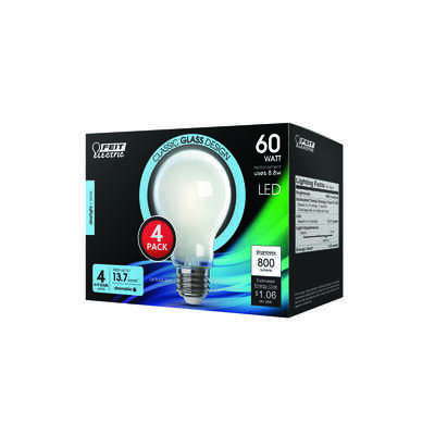 FEIT Electric  A19  E26 (Medium)  LED Bulb  Daylight  60 Watt Equivalence 4 pk