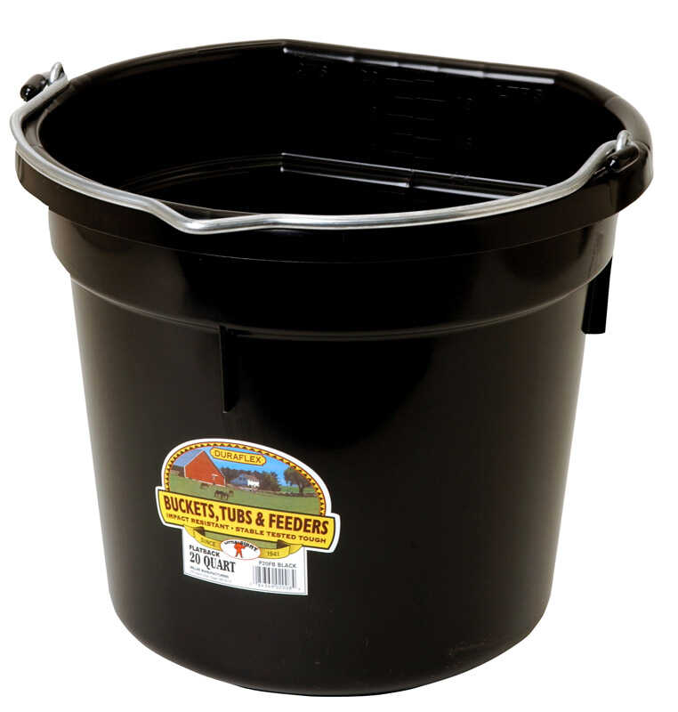 Little Giant  Flat Back  20 qt. Bucket  Black