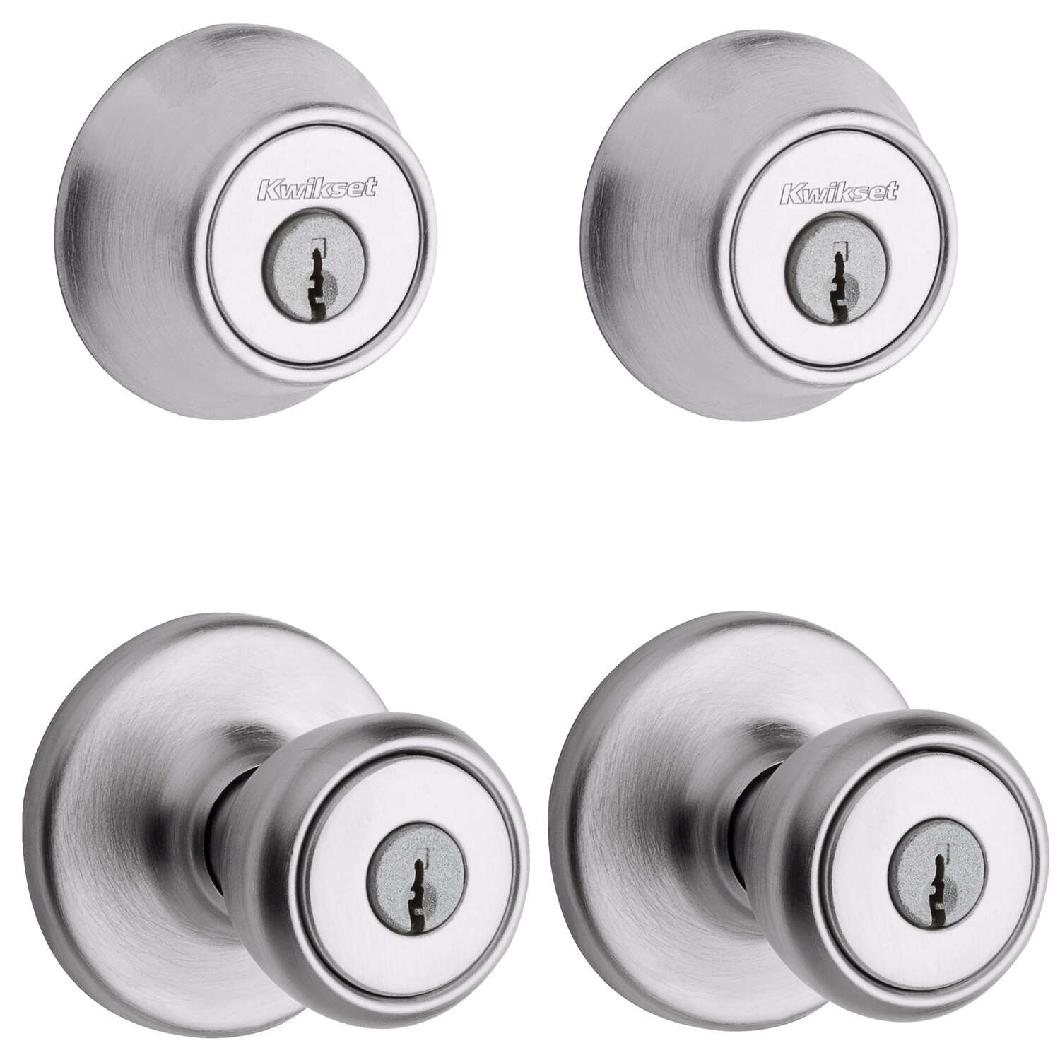 Kwikset  Tylo  Satin Chrome  Deadbolt and Entry Door Knob  ANSI/BHMA Grade 3  1-3/4 in.