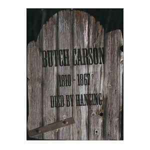 Fun World  Butch Carson 1810-1867 Died By Hanging Tombstone  Halloween Decoration  22 in. H x 1 in.
