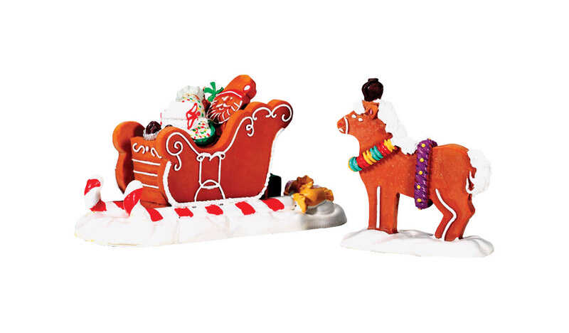 Lemax  Santa's Sleighride  Porcelain Village Accessory  Multicolored  Resin  2 pk