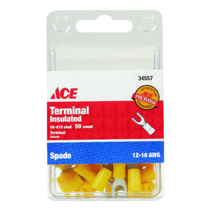 Ace  Insulated Wire  Spade Terminal  Yellow  50 pk