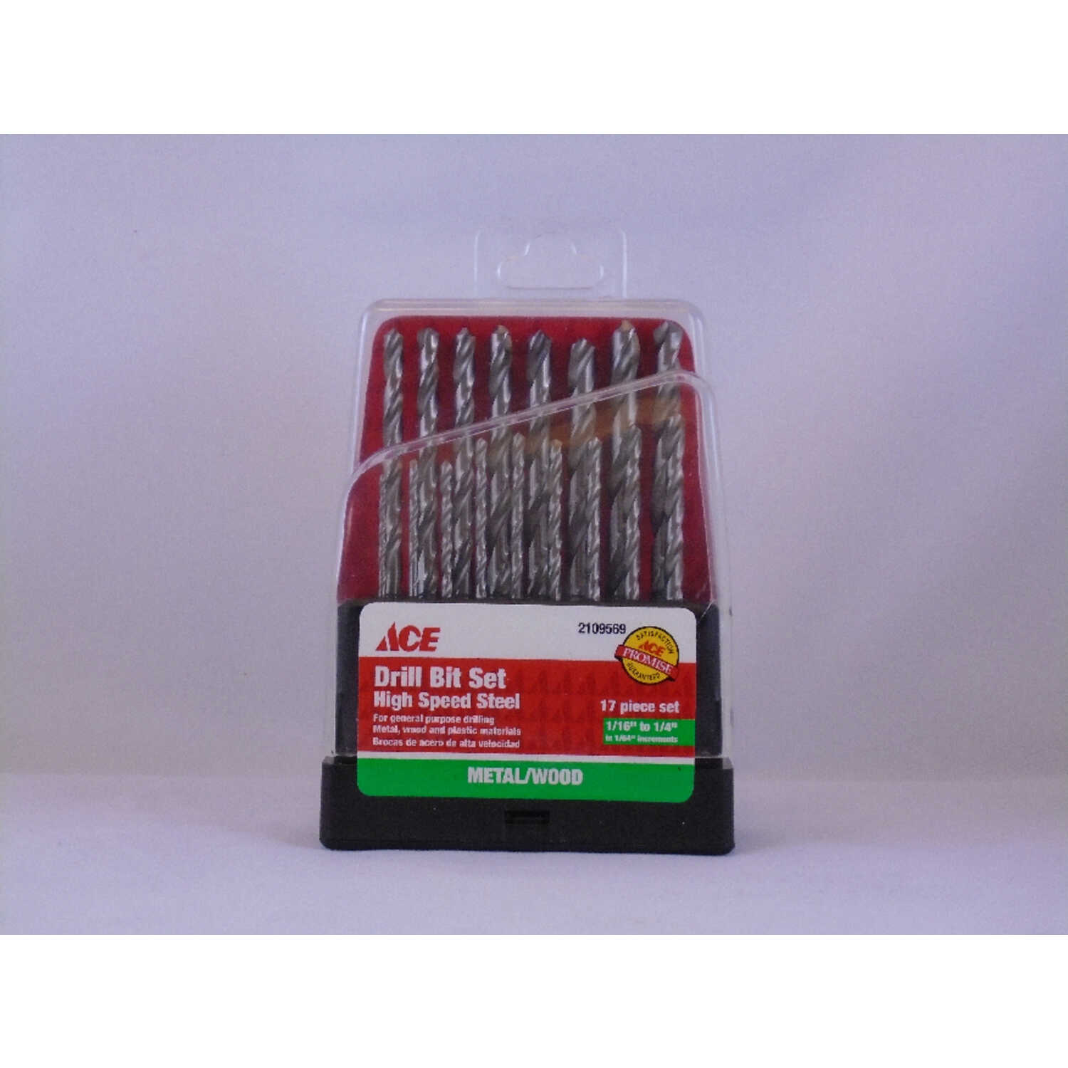 Ace  Multi Size  Dia. x Multiple  L High Speed Steel  Drill Bit Set  Round Shank  17 pc.