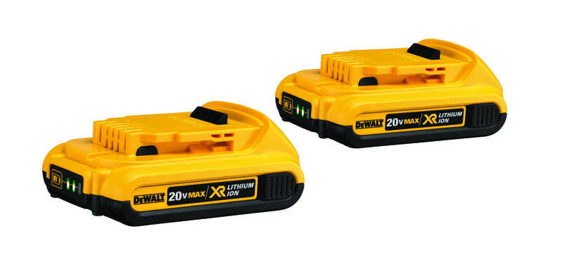 DeWalt  20V MAX XR  20 volt 2 Ah Lithium-Ion  Compact Battery Combo Pack  2 pc.