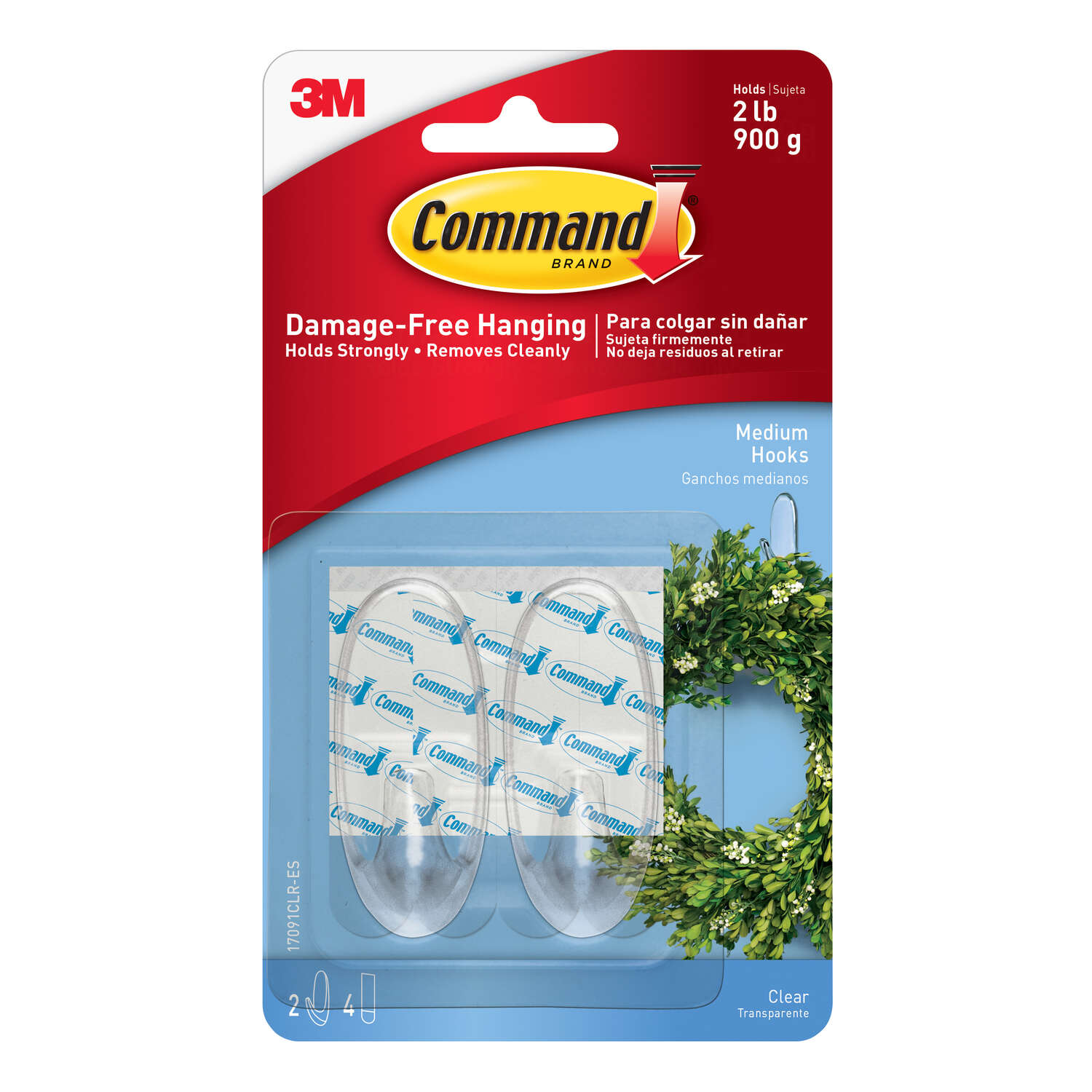 3M  Command  Medium  Hook  2-3/8 in. L 2 pk Plastic