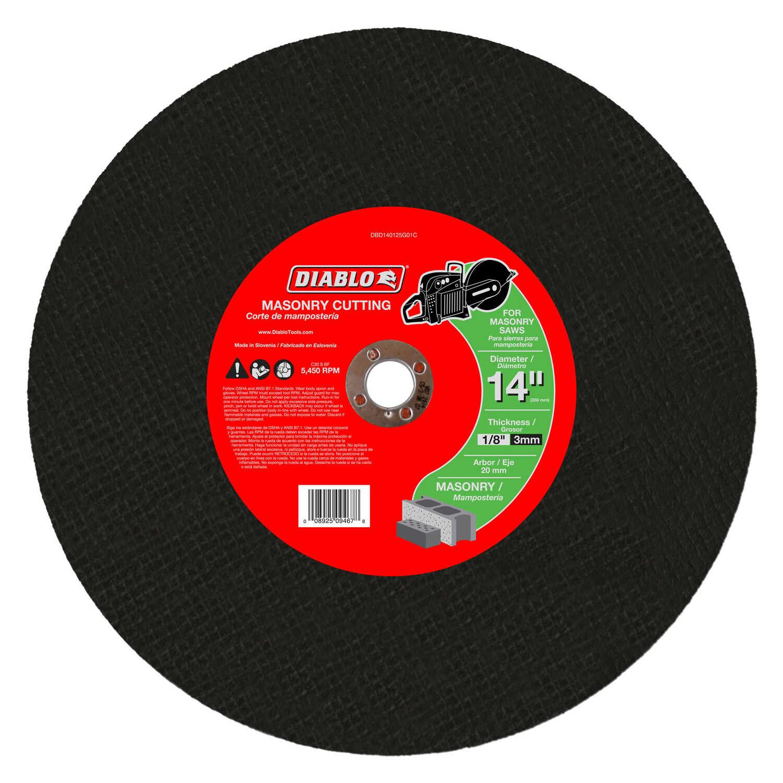 Diablo 14 In Aluminum Oxide Masonry Cut Off Disc 1 8 In