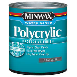 Minwax  Indoor  Clear  Satin  Polycrylic  0.5 pt. Satin