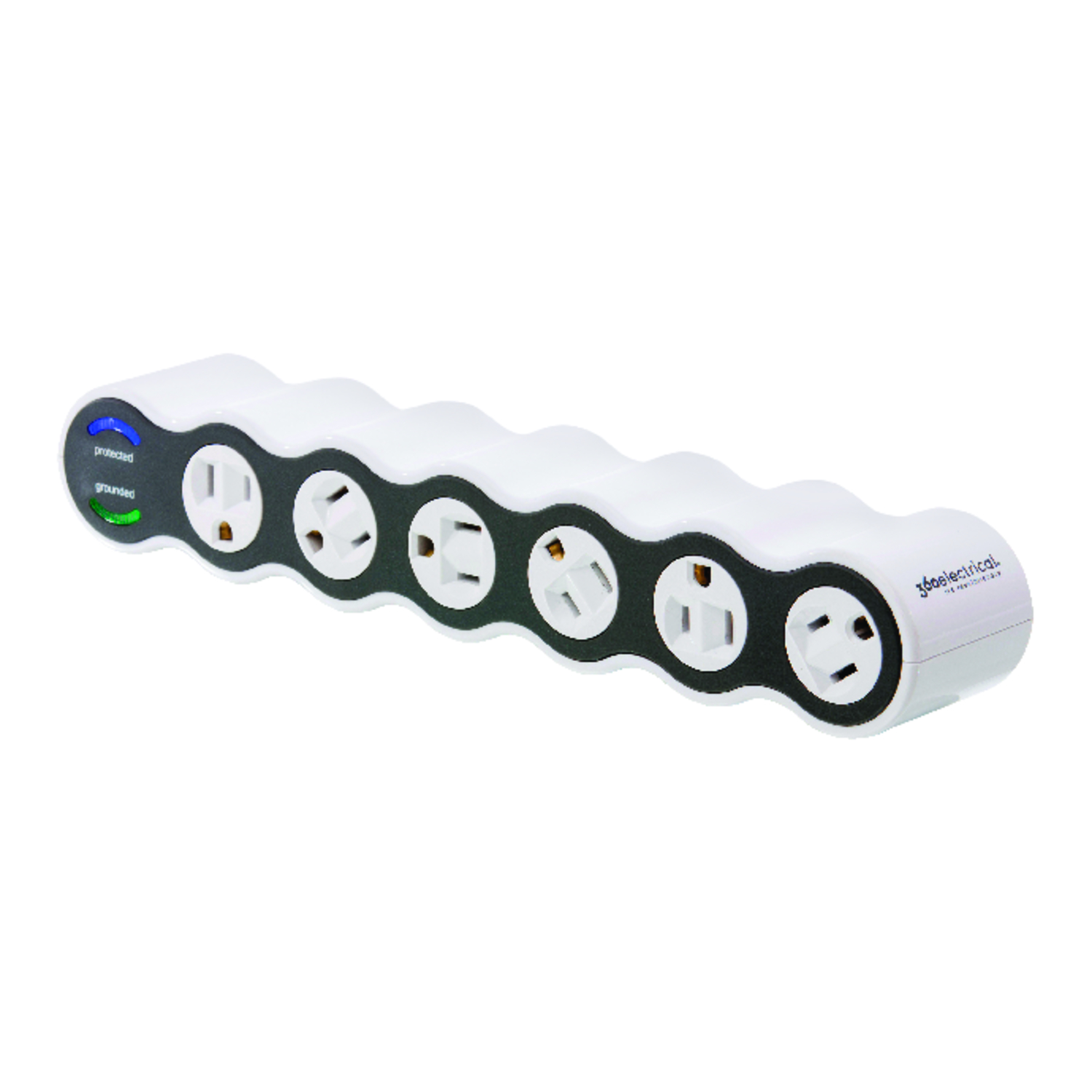 360 Electrical Surge Protector Six Tap 15 Amp 120 volts 1,800 watts  1,080 J  White/black 6 4 ft.