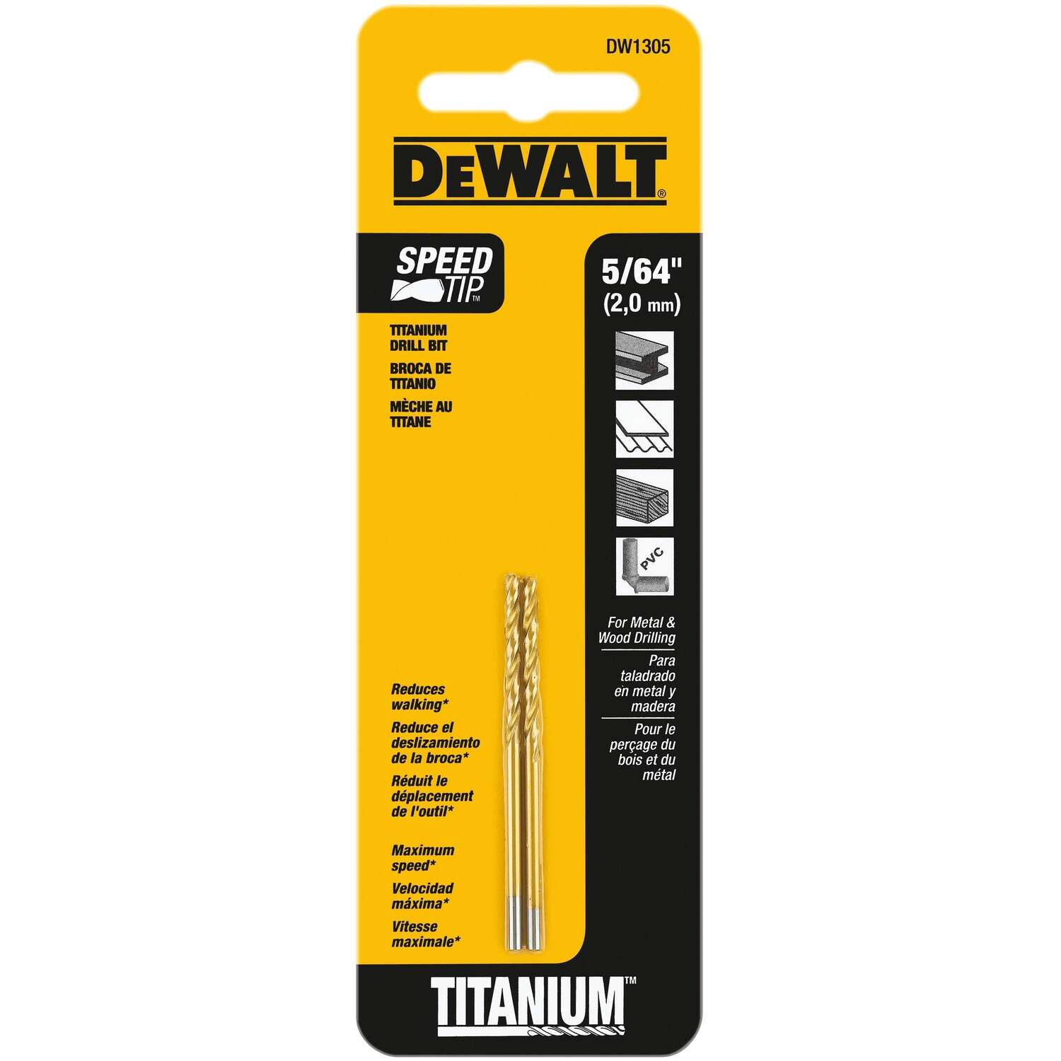 DeWalt 5/64 in. x 2 in. L High Speed Steel Split Point Drill Bit 2 pc.