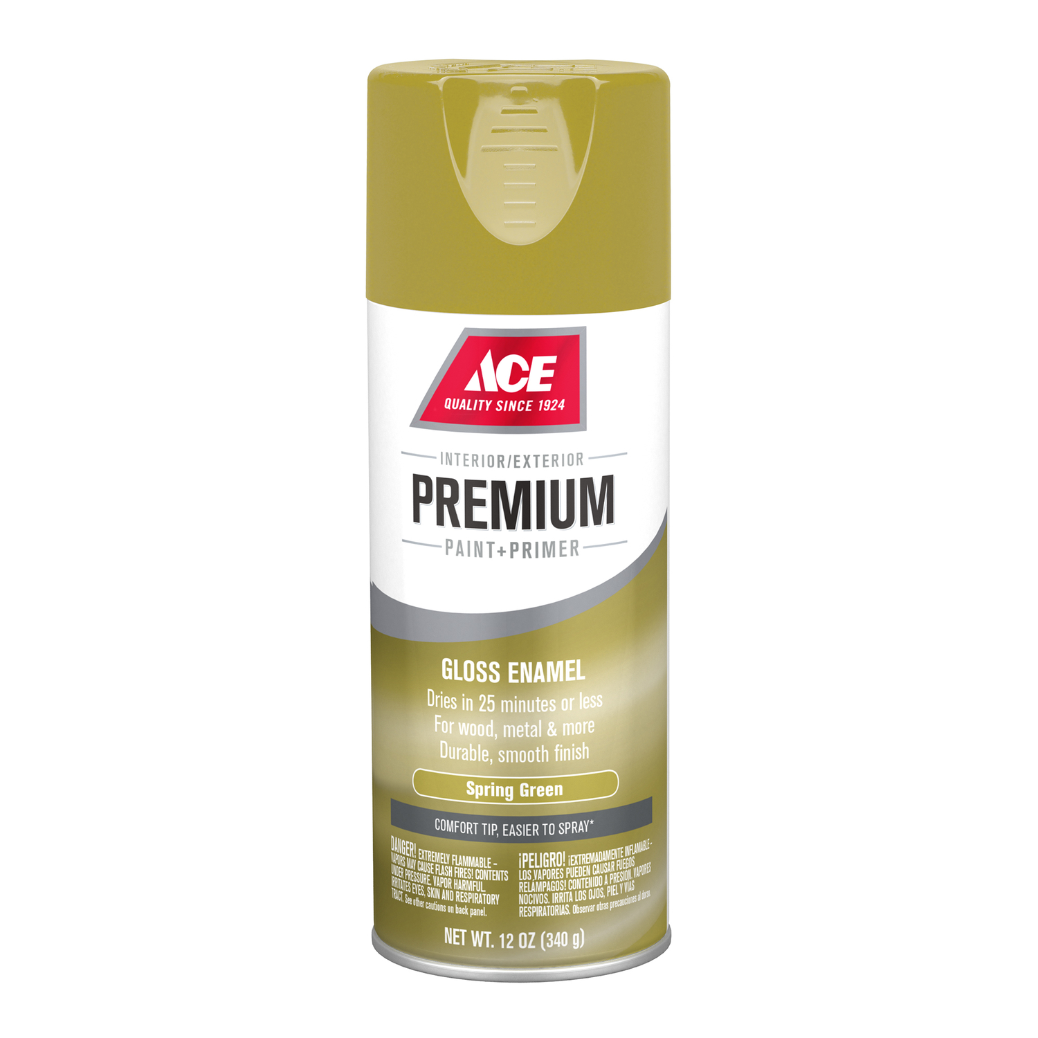 Ace  Premium  Gloss  Spring Green  Paint and Primer Spray Paint  12 oz.