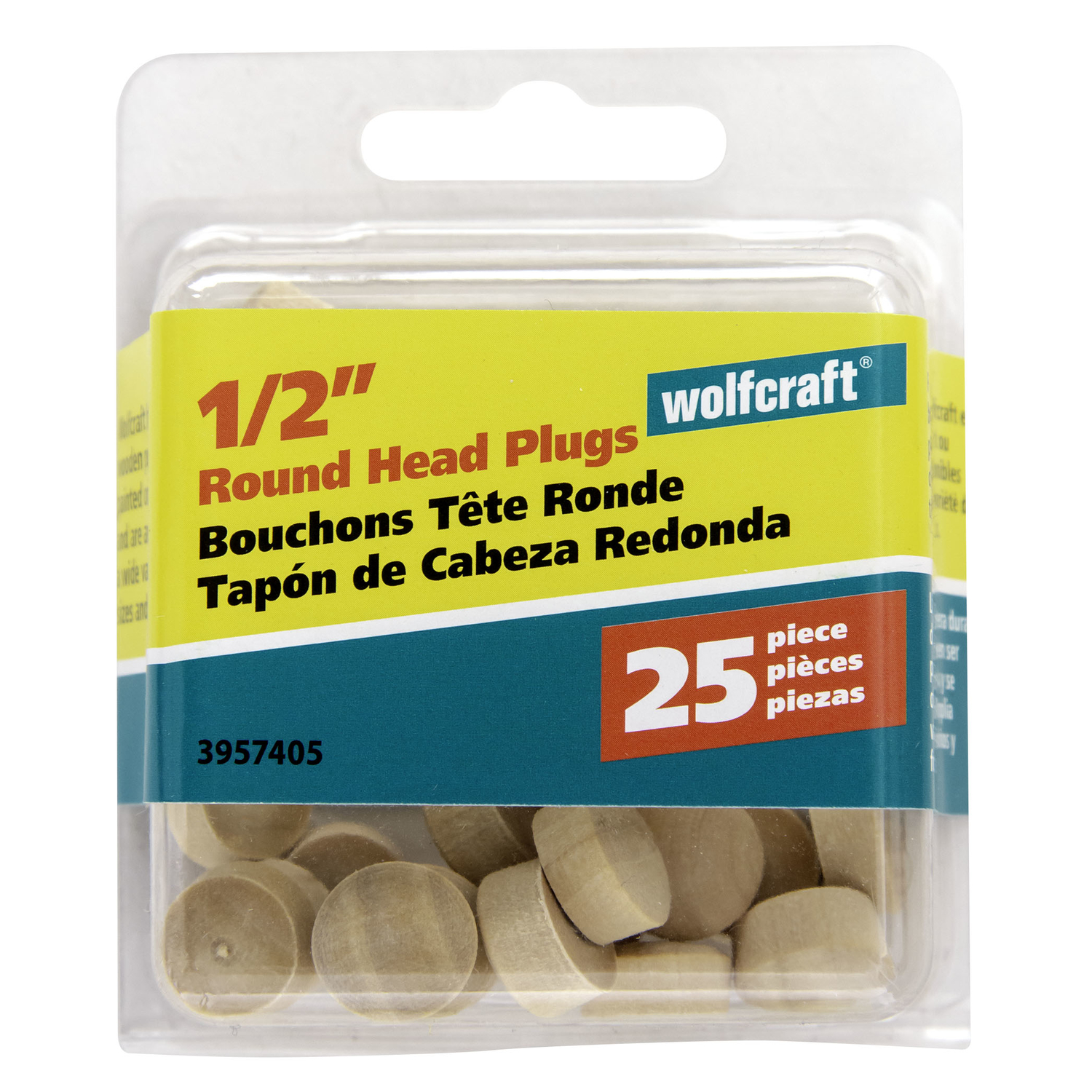 Wolfcraft  Round  Birch  Round Head Plug  1/2 in. Dia. x 0.3 in. L 25 pk Natural
