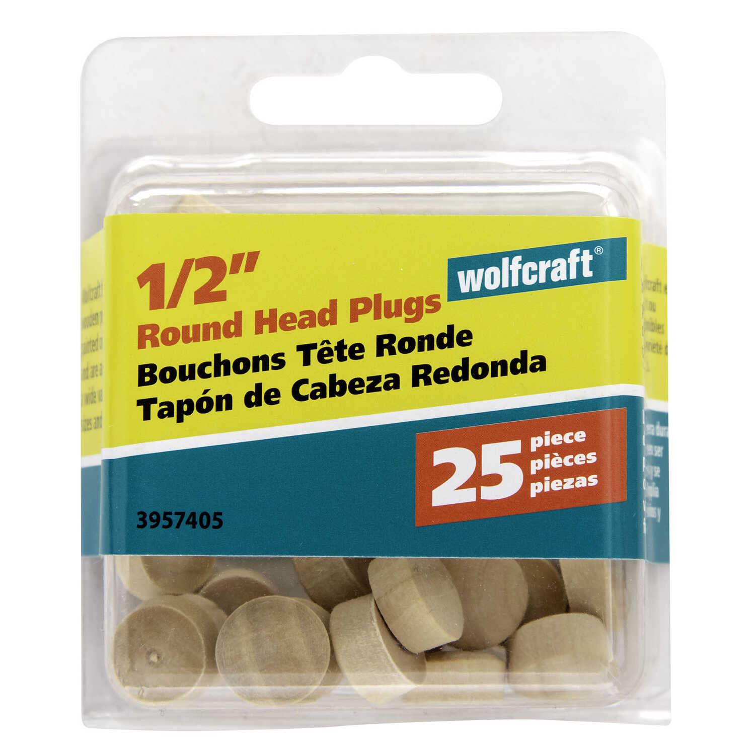 Wolfcraft  Round  Birch  Head Plug  1/2 in. Dia. x 0.3 in. L 1 pk Natural