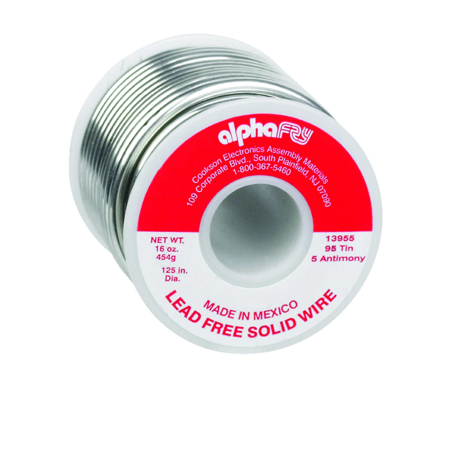 Alpha Fry  16 oz. Lead-Free Solid Wire Solder  0.125 in. Dia. Tin/Antimony  95/5