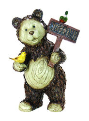 Exhart Resin Brown 21 in. Welcome Bear Statue