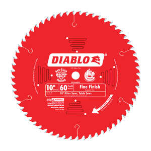 Freud  Diablo  10 in. Dia. x 5/8 in.  x 0.098 in.  Carbide Tip  Diablo  Circular Saw Blade  60 teeth