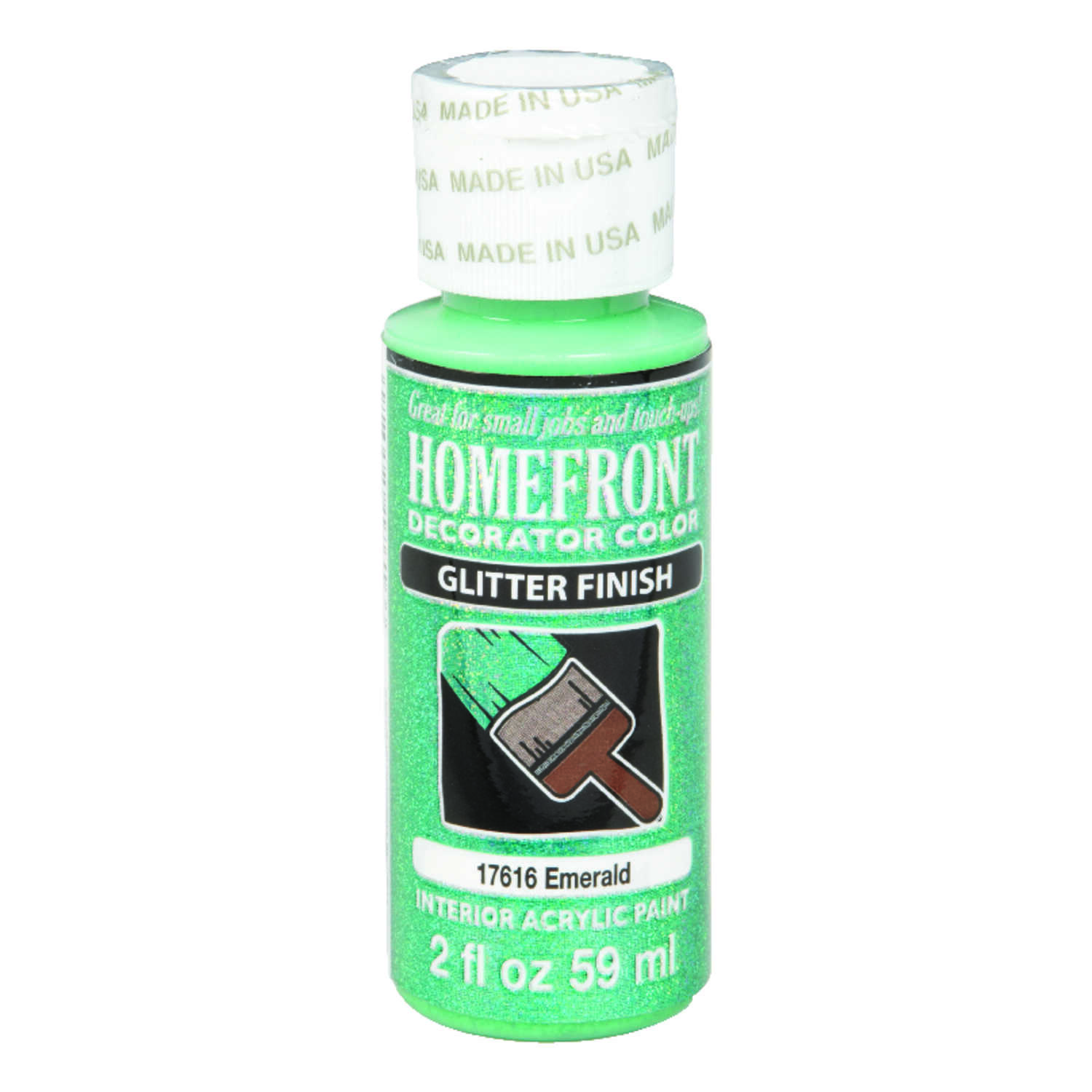 Homefront  Decorator Color  Glitter  Acrylic Latex  Emerald  2 oz. Hobby Paint