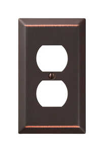 Amerelle  Bronze  1 gang Stamped Steel  Wall Plate  1 pk Duplex Outlet