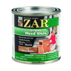 ZAR  Semi-Transparent  Smooth  Honey Maple  Oil-Based  Wood Stain  1/2 pt.