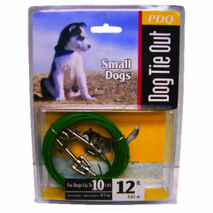 Boss Pet  PDQ  Green / Silver  Tie-Out  Vinyl Coated Cable  Dog  Tie Out  Small