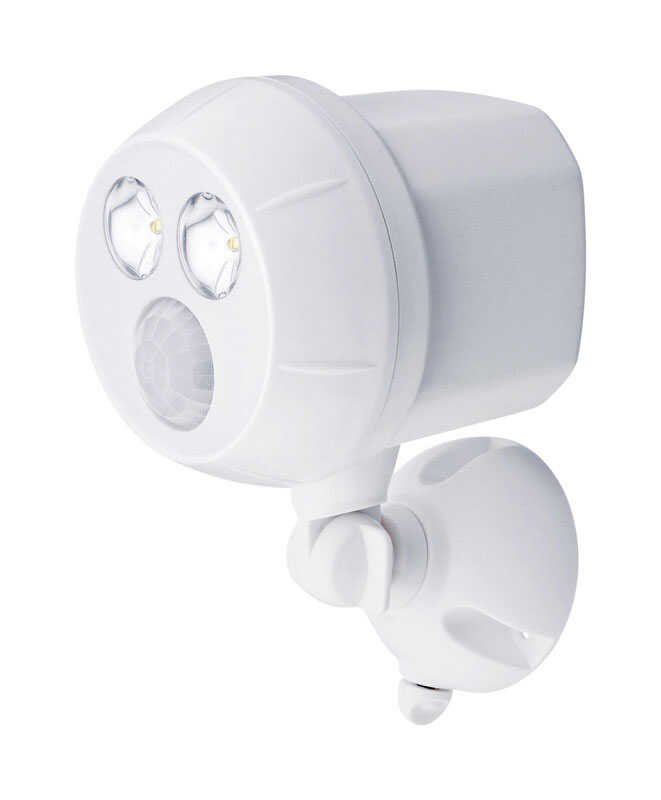 Mr. Beams  Motion-Sensing  Battery Powered  White  Spotlight