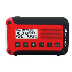 Midland Radio  Red  Emergency Weather Radio  Digital  Battery Operated