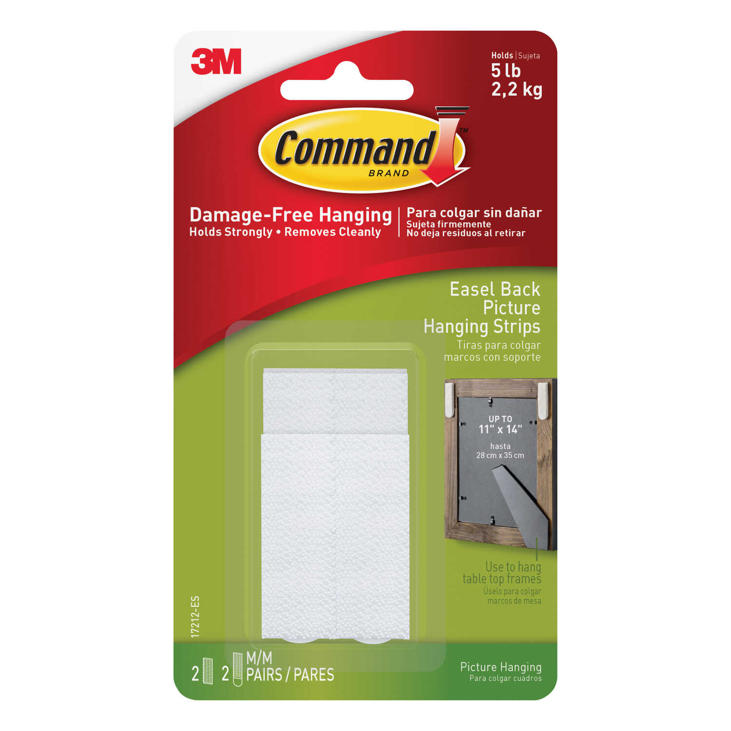 3M  Command  Medium  Easel Back Picture Hanging  Foam  4 pk 5 lb. White  Easel-Backed Picture Hangin