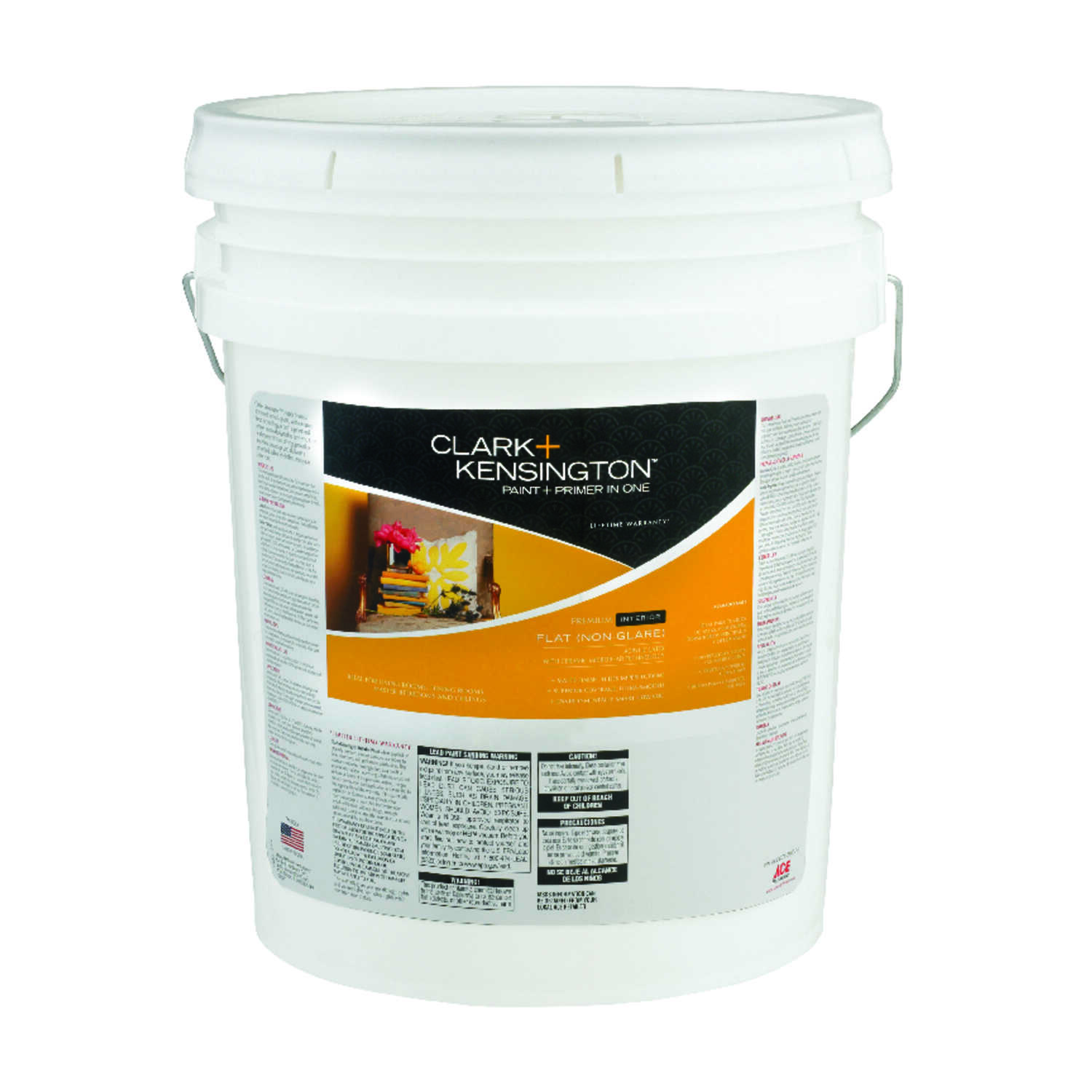 Clark+Kensington  Flat  Ultra White  Ultra White Base  Paint and Primer  Acrylic Latex  5 gal.
