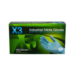 X3 Nitrile Disposable Gloves Medium Blue Powder Free 100 pk