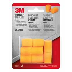 3M 23 dB Foam Ear Plugs Orange 4 pair