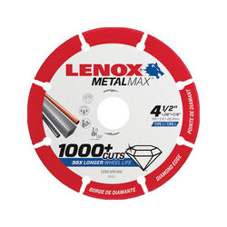 Lenox  MetalMax  4-1/2 in. Dia. x 7/8 in.  Diamond/Metal  Metal Cut-Off Blade  1 pc.