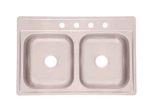 Kindred  Stainless Steel  Top Mount  33 in. W x 22 in. L Two Bowls  Kitchen Sink