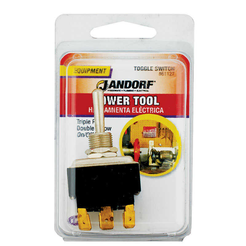 Jandorf  24 amps Three Pole  Toggle  Power Tool Switch  Black  1 pk