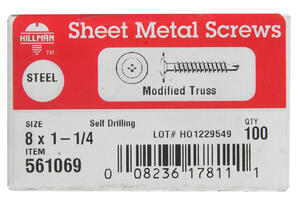 Hillman  8 Sizes  x 1-1/4 in. L Phillips  Truss Head Zinc-Plated  Steel  Self- Drilling Screws  100
