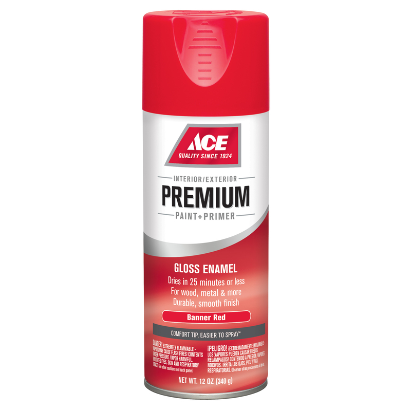Ace  Premium  Gloss  Banner Red  Enamel Spray Paint  12 oz.