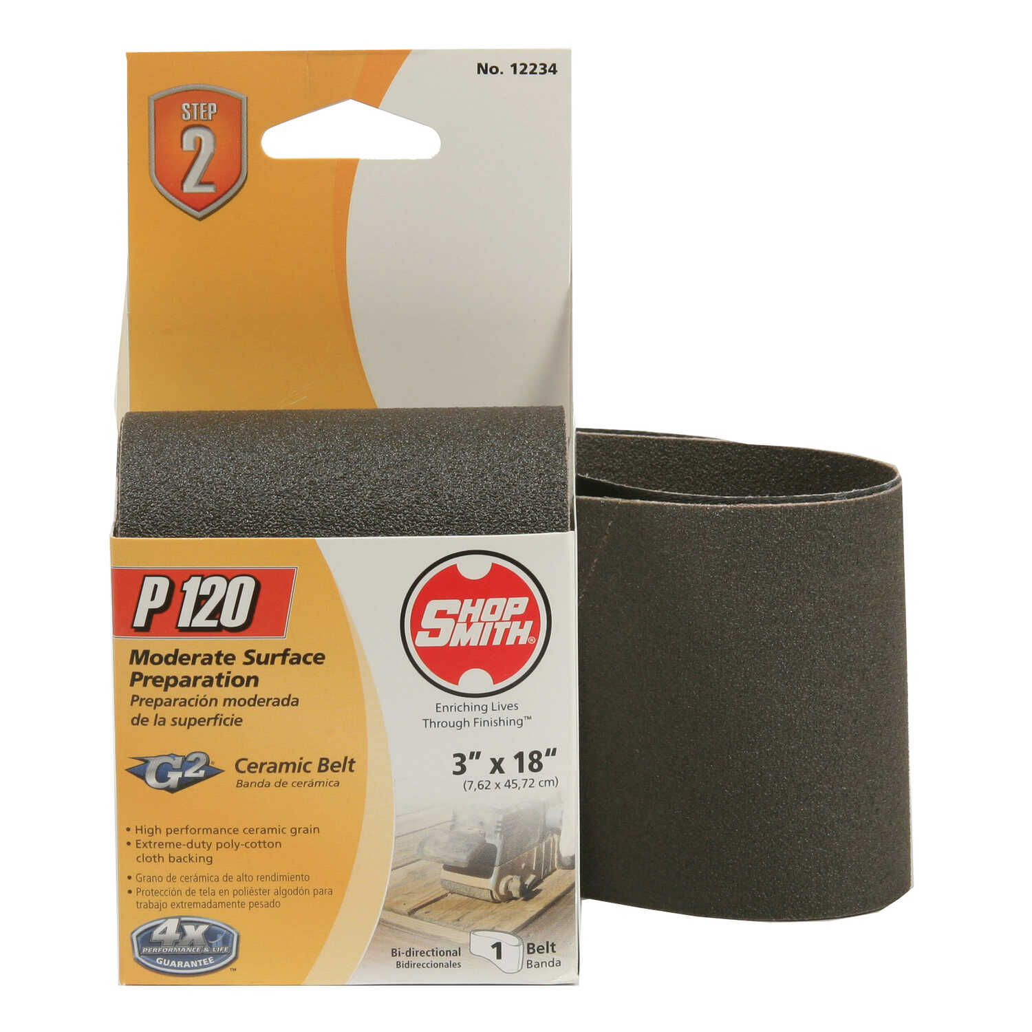 Shopsmith  18 in. L x 3 in. W Ceramic  Sanding Belt  120 Grit Fine  1 pc.