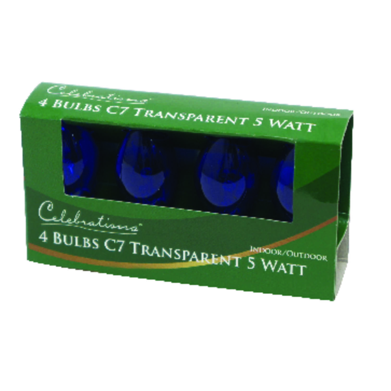 Celebrations  Incandescent  Transparent C7  Replacement Bulb  Blue  4 pk