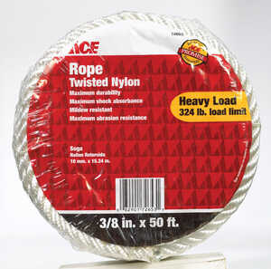 Ace  50 ft. L x 3/8 in. Dia. White  Nylon  Rope  Twisted