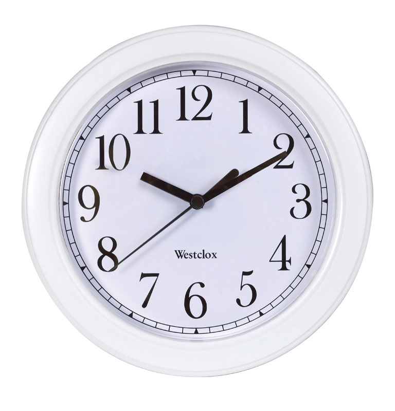 Westclox  8-1/2 in. W Indoor  Wall Clock  Plastic  White  Analog