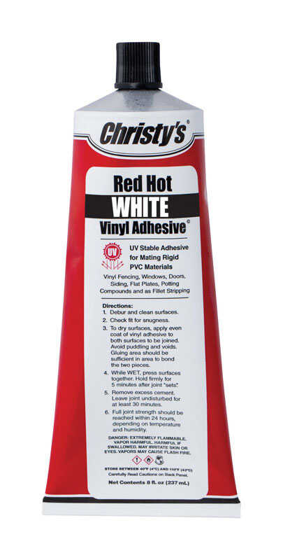Christys  Red Hot  White  Adhesive  For PVC/Vinyl 8 oz. 8 oz. White
