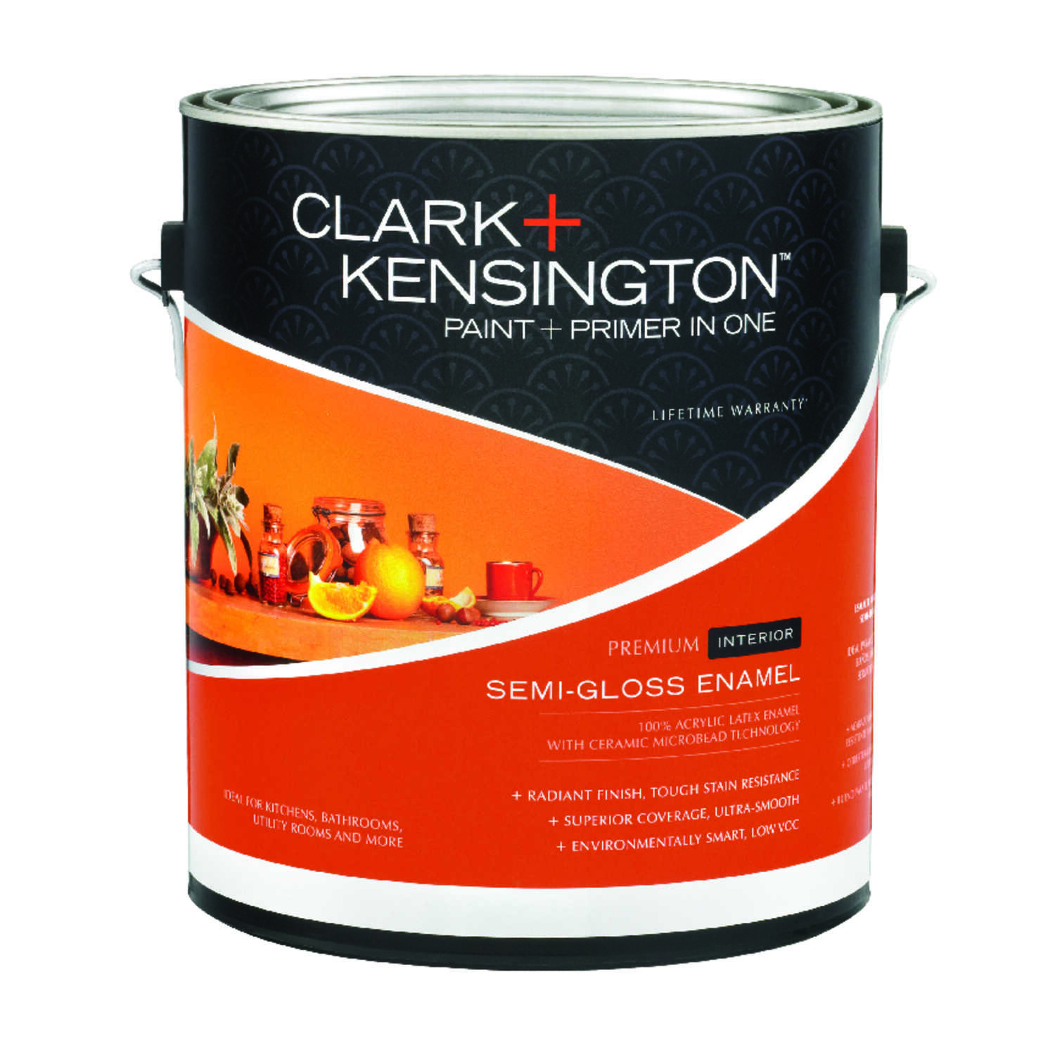 Clark+Kensington  Semi-Gloss  Designer White  Acrylic Latex  Paint and Primer  1 gal.