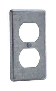 Steel City  Rectangle  Steel  1 gang Duplex Outlet Cover  For Mounts to Box or Device