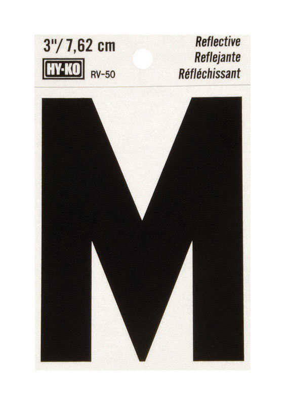 Hy-Ko  Vinyl  Black  3 in. Letter  Self-Adhesive  Reflective M