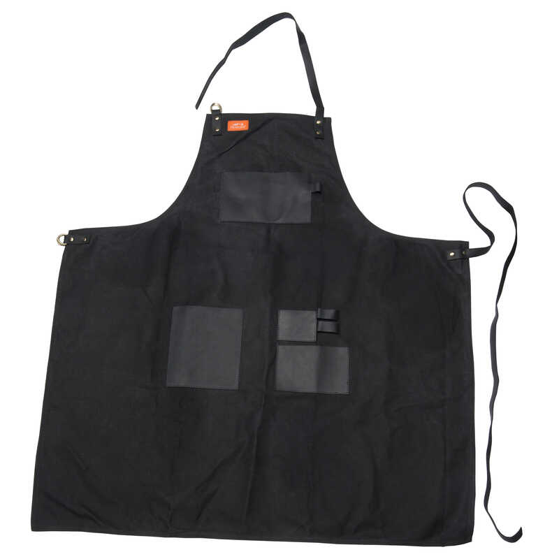 Traeger  Black  Canvas/Leather  Solid  Apron