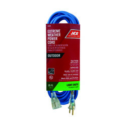 Ace  Outdoor  25 ft. L Blue  Extension Cord  16/3 SJOW
