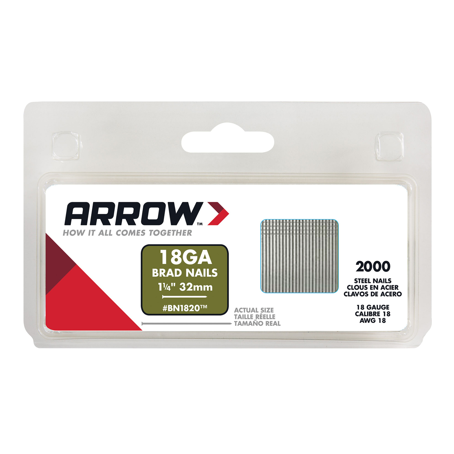 Arrow Fastener  BN1820  18 Ga.  x 1-1/4 in. L Galvanized  Steel  Brad Nails  1000 pk 0.65 lb.
