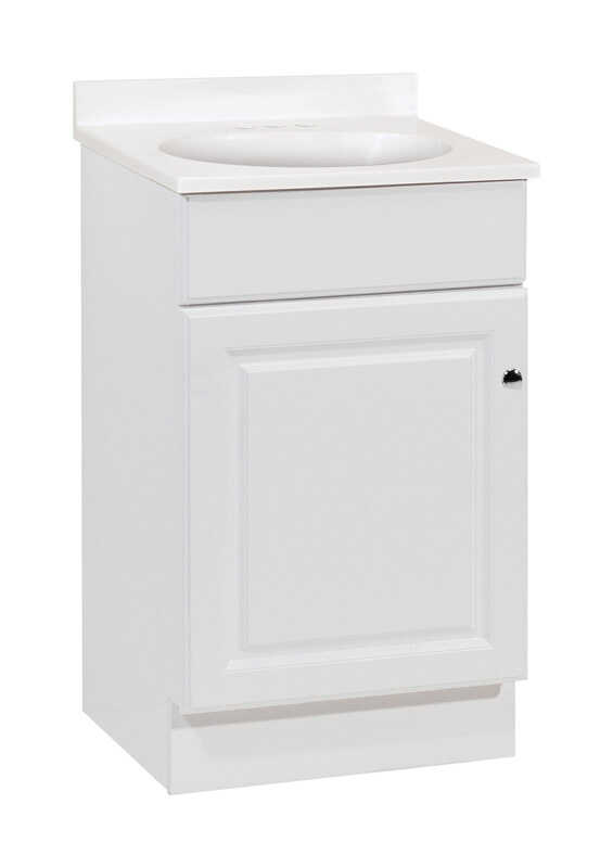 Continental Cabinets  Single  Bright  White  Vanity Combo  32 in. H x 18 in. W x 16 in. D